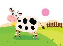 Gelukkige koe op weide vector illustratie