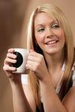 Gelukkige koffiedrinker Royalty-vrije Stock Foto's