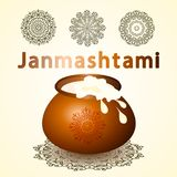 Gelukkige Krishna Janmashtami-groetkaart Royalty-vrije Stock Afbeeldingen