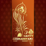 Gelukkige Krishna Janmashtami-kaart Stock Foto's