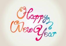 Gelukkige krullende de handbrieven van het Nieuwjaar stock illustratie