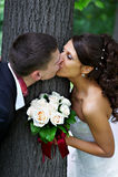 Gelukkige kusbruid en bruidegom Stock Foto's