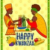 Gelukkige Kwanzaa-groeten voor viering van de Afrikaanse Amerikaanse oogst van het vakantiefestival vector illustratie