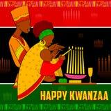 Gelukkige Kwanzaa-groeten voor viering van de Afrikaanse Amerikaanse oogst van het vakantiefestival stock illustratie
