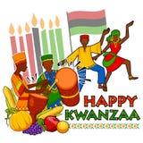 Gelukkige Kwanzaa-groeten voor viering van de Afrikaanse Amerikaanse oogst van het vakantiefestival Stock Fotografie