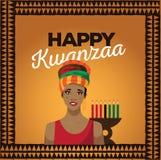 Gelukkige Kwanzaa met Afrikaanse vrouw Royalty-vrije Stock Foto's