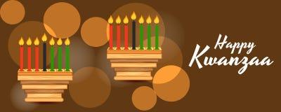 Gelukkige Kwanzaa met traditionele Gekleurde Candels stock illustratie