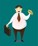 Gelukkige lachende gewaagde bedrijfsmens die een sandwich eten Beeldverhaalkarakters, Royalty-vrije Stock Fotografie