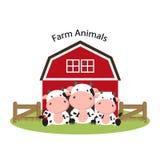 Gelukkige landbouwbedrijfdieren Het leuke beeldverhaal van de koefamilie royalty-vrije illustratie
