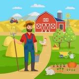 Gelukkige landbouwer met landbouwlandschap en tuin die zich voor de landbouwbedrijfschuur bevinden en gebieden met gewas De landb vector illustratie