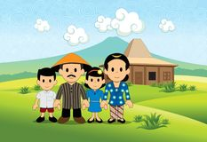 Gelukkige Landbouwers` s Familie vector illustratie