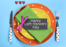 Gelukkige Lefthanders-Dag, voor 13 Augustus Royalty-vrije Stock Fotografie