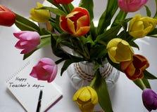 Gelukkige lerarendag, met de hand gemaakte tulpenbloem Royalty-vrije Stock Foto