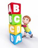 Gelukkige Leuke jongen met blokken van alfabetten Stock Foto's