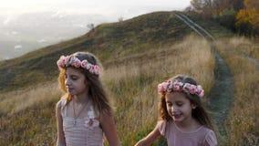 Gelukkige leuke meisjes die in de weide lopen Verbazend landschap op de achtergrond stock footage