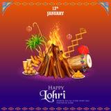 Gelukkige Lohri-vakantieachtergrond voor Punjabi-festival royalty-vrije illustratie