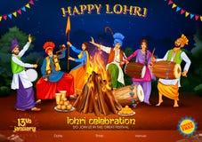 Gelukkige Lohri-vakantieachtergrond voor Punjabi-festival stock illustratie