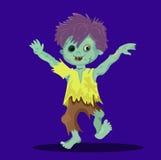 Gelukkige lopende zombiejongen zonder een oog royalty-vrije illustratie