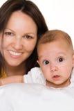 Gelukkige mamma en baby Stock Foto's