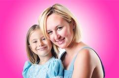 Gelukkige Mamma en Dochter Stock Afbeeldingen