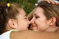 Gelukkige mamma en dochter Stock Afbeelding