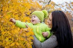 Gelukkige mamma en peuterjongen op gang royalty-vrije stock afbeeldingen
