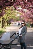 Gelukkige mammagang met haar weinig babymeisje in wandelwagen Achtergrond van roze sakuraboom royalty-vrije stock fotografie