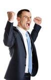 Gelukkige manager met omhoog vuisten stock fotografie