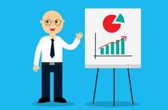 Gelukkige mannelijke bedrijfsmens dichtbij een interactieve whiteboard vector illustratie
