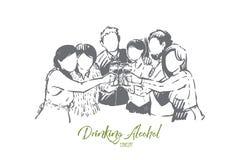 Gelukkige mannen en vrouwen die alcohol, jonge vrienden die, volwassenen drinken pret, viering met cocktails hebben, wijn stock illustratie