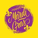 Gelukkige Mardi Gras-groetkaart met de slag van de cirkelborstel backgroud en kalligrafisch het van letters voorzien tekstontwerp stock illustratie