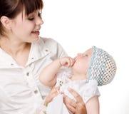 Gelukkige mather en baby stock afbeelding