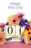 Gelukkige Meidagkalender met bloemen Stock Foto