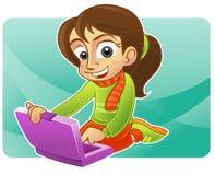 Gelukkige meisje en laptop Royalty-vrije Stock Fotografie