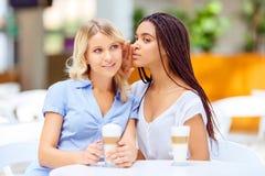 Gelukkige meisjes die in de koffie zitten stock afbeelding