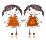 Gelukkige meisjes die, schets samen glimlachen royalty-vrije illustratie