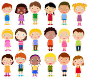 Gelukkige meisjes en jongens Stock Foto