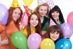 Gelukkige meisjes met ballons Royalty-vrije Stock Foto's