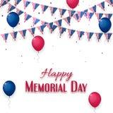 Gelukkige Memorial Day -banner op witte achtergrond Stock Foto's
