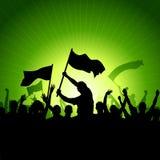 Gelukkige Menigte met Vlaggen royalty-vrije illustratie