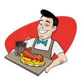 Gelukkige mens die Duitse currywurst en kola dienen royalty-vrije illustratie