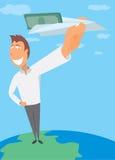 Gelukkige mens die geld op document vliegtuig verzenden Stock Fotografie