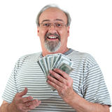 Gelukkige Mens met het Hoogtepunt van de Hand van Geld stock fotografie