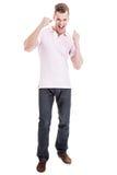 Gelukkige mens met opgeheven vuisten Stock Fotografie