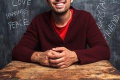 Gelukkige mens met positieve gedachten Stock Foto