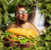 Gelukkige mens met sandwich stock foto's