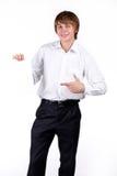 Gelukkige Mens met spatie die op wit wordt geïsoleerdu Royalty-vrije Stock Fotografie