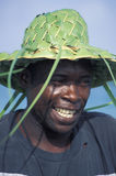Gelukkige mens met strohoed, Tobago Royalty-vrije Stock Foto