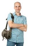 Gelukkige mens met zak Stock Afbeelding