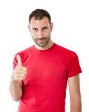 Gelukkige mens in overwinningsgebaar Stock Foto